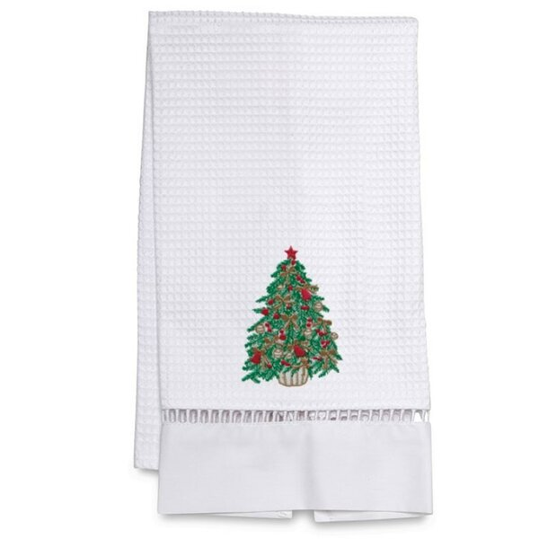 Waffle Weave Christmas Tree 100% Cotton Hand Towel by The Holiday Aisle